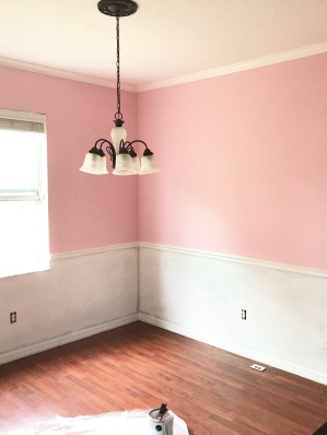 pink dining room, all pink everything, valspar oh so pink, pink decor, painting a room pink, best pink paint 2018, house decorating, house decor,